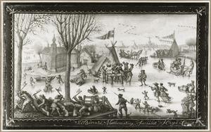 Winterlandschap met figuren op het ijs, op de achtergond Den Haag
