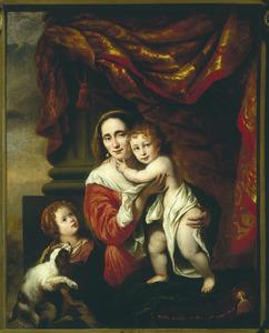 Portret van Johanna de Geer (1629-1691) met haar kinderen Cecilia Trip (1660-1728) en Laurens Trip (1662-?), voorgesteld als Caritas