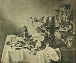Ontbijtje met grote roemer, tazza en ham