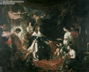 Allegorisch portret van Friedrich Wilhelm keurvorst van Brandenburg (1620-1688) als beschermer van de kunsten
