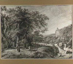 Boomrijk heuvellandschap met waterval, figuren en hertenjacht