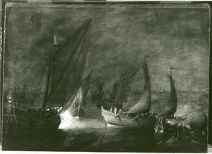 Nachtelijk zeegezicht met zeilschepen