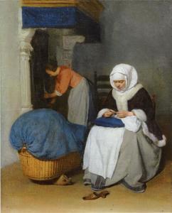 Jonge dame die naaiwerk doet met een dienstmeisje op de achtergrond
