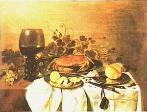 Stilleven met krab, glaswerk, tinnen borden en mes met een foudraal