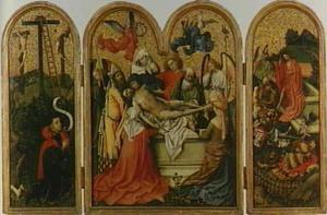 Stichtersportret met op de achtergrond Golgota (links), de graflegging (midden), de opstanding (rechts)