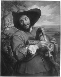 Portret van François Langlois gekleed als 'savoyard', spelend op een musette in een heuvellandschap