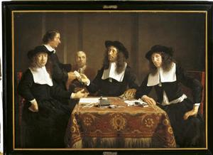 Regenten van het Leprozen-, Pest- en Dolhuis te Haarlem, met de voorspreker en een zieke