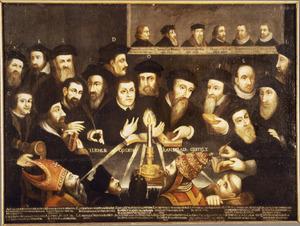 Groepsportret van zestien reformatoren vergezeld van het motto: ''t Licht is op den kandelaer gestelt'