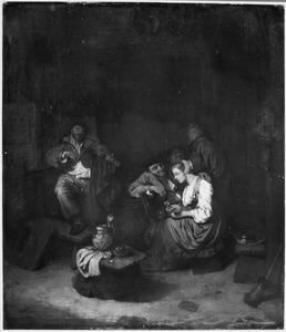 Violist en een anoureus boerenpaar in een herberg, met twee boeren in de achtergrond