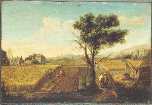 Vlak landschap met graanoogst