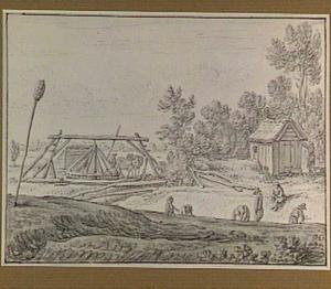 Landschap met mannen die een vaart graven, en een tredmolen met paarden