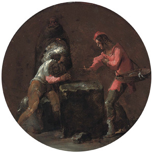 Twee dobbelende mannen en een monnik die toekijkt
