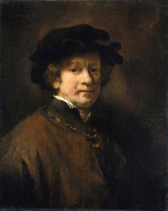 Zelfportret met zwarte baret en gouden ketting