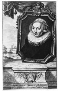Portret van Antonia Wenssen van Swijndrecht (....-1621), echtgenote van Dammas van Slingelandt, met in de achtergrond een ruïne aan het water (Huis te Merwede?)