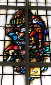 Allegorie op de bouwkunst: de architect en de handwerksman; met het stadswapen van Den Haag