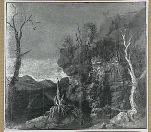 Rotslandschap met bomen en bron