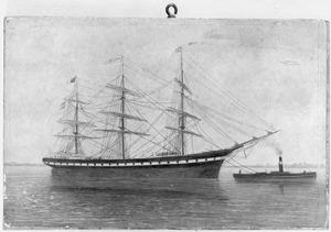 Het clipperfregatschip 'Amphitrite' van rederij A. Henrichs & Co., getrokken door een stoomsleepboot