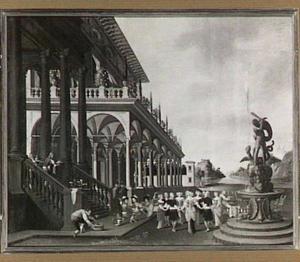 Zuilengalerij van een paleis met feestvierend gezelschap