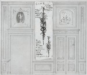 Achterwand met twee deuren ter weerszijden van een tussenpaneel
