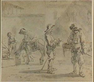 Straatventers, ruiter en vrouw bij een drenkplaats