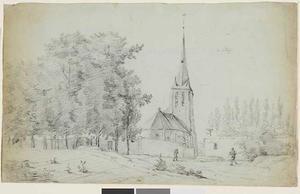 Gezicht op een onbekende Nederlandse kerk