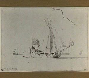 Zeilboot met engelse vlag