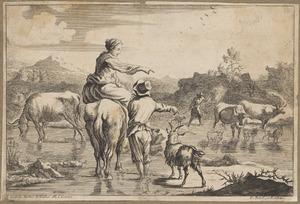 Zuidelijk landschap met herders en hun dieren bij een drenkplaats