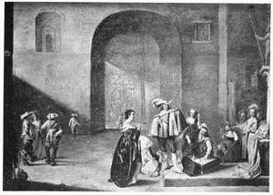 Interieur van een wachtlokaal met een soldaat die de buit inspecteert en een smekende vrouw