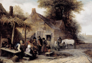 Boeren voor een herberg