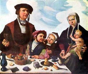 Portret van Pieter Jan Foppesz. (....-1541), Alijdt Mathijsdr. genaamd van Beresteyn (....-1540) en hun kinderen Jan (....-1542), Cornelia (....-1583) en Pieter (....-1545)