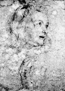 Studie van het hoofd en de rechterhand van een vrouw