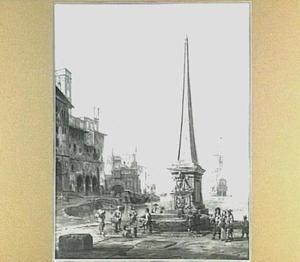 Schepen in een mediterrane haven, met rechts een obelisk