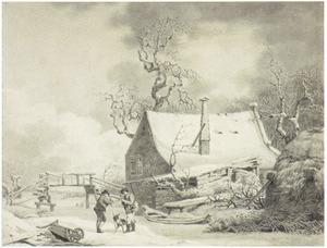 Winterlandschap met twee pratende boeren voor een boerderij