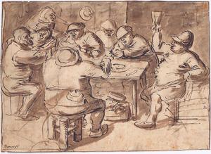 Drinkende boeren rond een tafel