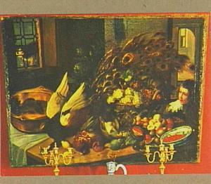 Keukenstilleven van pauw en vruchten met rechts een jongentje