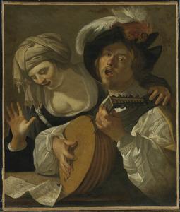 Een zingend paar, de man speelt op een luit