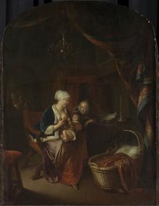 Moeder die haar kind de borst geeft
