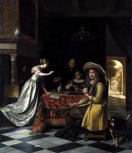 Elegant gezelschap kaartspelers in een interieur