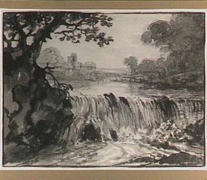 Riviergezicht met waterval