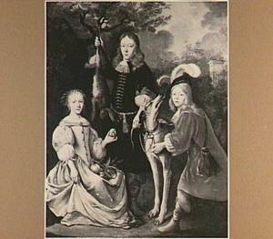 Portret van drie kinderen in een landschap