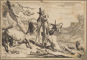 Twee rustende herders en hun vee