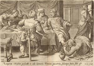 Christus' voeten worden gezalfd door Maria Magdalena