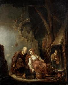 De weduwe van Sarefat bakt pannenkoeken voor Elia  (1 Koningen 17: 1316)