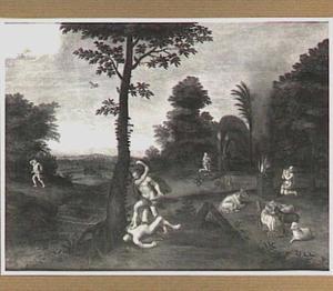 Boslandschap met de geschiedenis van Kaïn en Abel (Genesis 4:3-8)