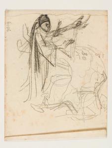 Studie voor ontwerp glas-in-loodraam met een engel en andere figuur