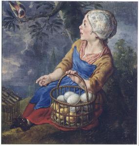 Zittend meisje met een mand vol eieren