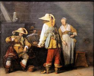 Interieur met rokende en triktrak spelende soldaten en een vrouw rond een tafel