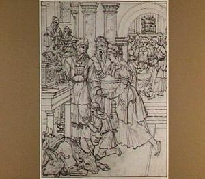 Samuel door zijn moeder overgedragen aan de hogepriester Eli (1 (Samuel 1:24-28)