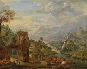 Rijnlandschap met rivier en bebouwing