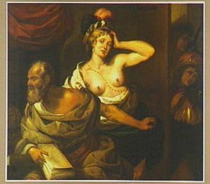 De courtisane Phryne tracht de filosoof Xenokrates te verleiden